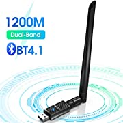 AC 1200Mbps USB 3.0 Wi-Fi Dongle Bluetooth Adapter with 6dBi Antenna 2.4G/5Ghz for PC, USB Bluetooth 4.1 Receiver WiFi Adapters Wireless Network Card for Windows 10/8/8.1/7, Mac OS X 10.6-10.15