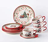 Temp-tations 12-pc. Whimsy Holiday Dinnerware Set NOTICE THE MUGS (Old World Holiday)