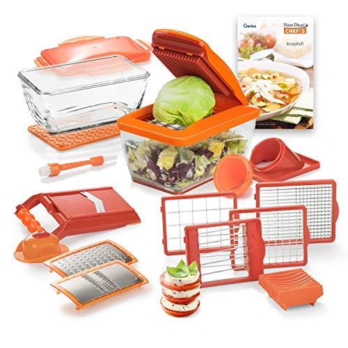 Genius Nicer Dicer Chef S Kombi-Set Premium (20 Teile) in orange mit Hobeleinsatz Gemüsehobel Gemüseschneider Tomaten-Gemüse-Schneider - einfach & schnell Gemüse schneiden