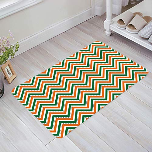 Alfombra estera del piso Tapetes Felpudo Tema del día de San Patricio Verde Naranja Blanco Zigzag Chevron alfombras 40X60CM