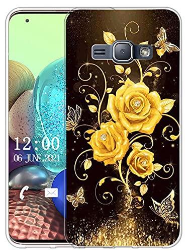Sunrive Cover Compatibile con Samsung Galaxy J1 Mini, Custodia Case in Molle Trasparente Silicone Morbida Flessibile AntiGraffio Protettiva Back custodie(X Farfalla & Rosa 1)