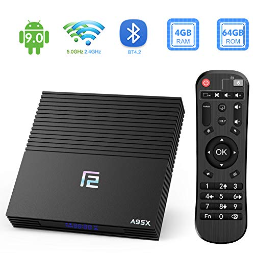 TUREWELL Android 9.0 Smart TV Box, F2 TV Box Android 9.0 Amlogic S905X2 Quad-core 4GB RAM 64GB EMMC ROM with Digital Display HDMI Ultra HD 4K Ethernet 2.4G/5.0GHz WiFi Bluetooth 4.2 H.265 Video Player