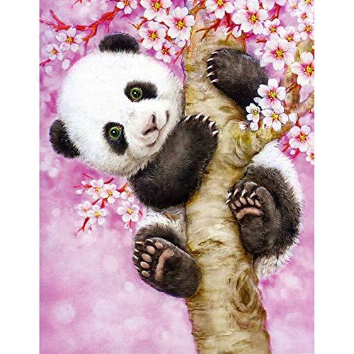 DTNO.I 5D Diamond Painting Kit Gran panda rosa (30 x 40cm) DIY Fabricación de mosaicos pintura de diamantes Utilizado para mejorar el de salón pasillo y dormitorio