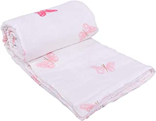 MOM'S HOME Organic Cotton Soft Summer Butterfly AC Quilt Blanket Cum Bedspread 110 x 120 Cms for Baby Boy and Girl (Pink, 0-3 Years)