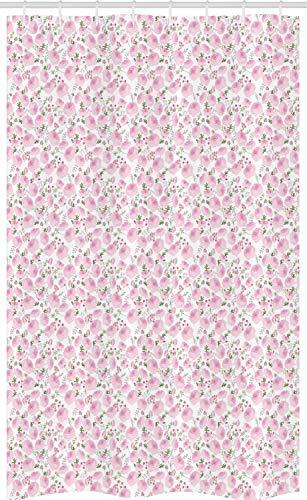 ABAKUHAUS Blumen Schmaler Duschvorhang, Ranunculus Frühling Festliche, Badezimmer Deko Set aus Stoff mit Haken, 120 x 180 cm, Baby-Rosa Getrocknete Rose & Olivgrün