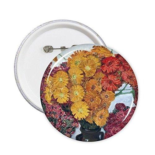 DIYthinker Pintura amarilla del crisantemo rosa roja en el florero del aceite pernos redondos insignia del botón de ropa Decoración 5Pcs regalo XXL Multicolor