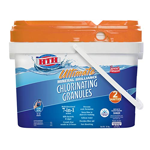 HTH 22008 Ultimate Mineral Brilliance Chlorinating Granules for Swimming Pools, 18 lbs