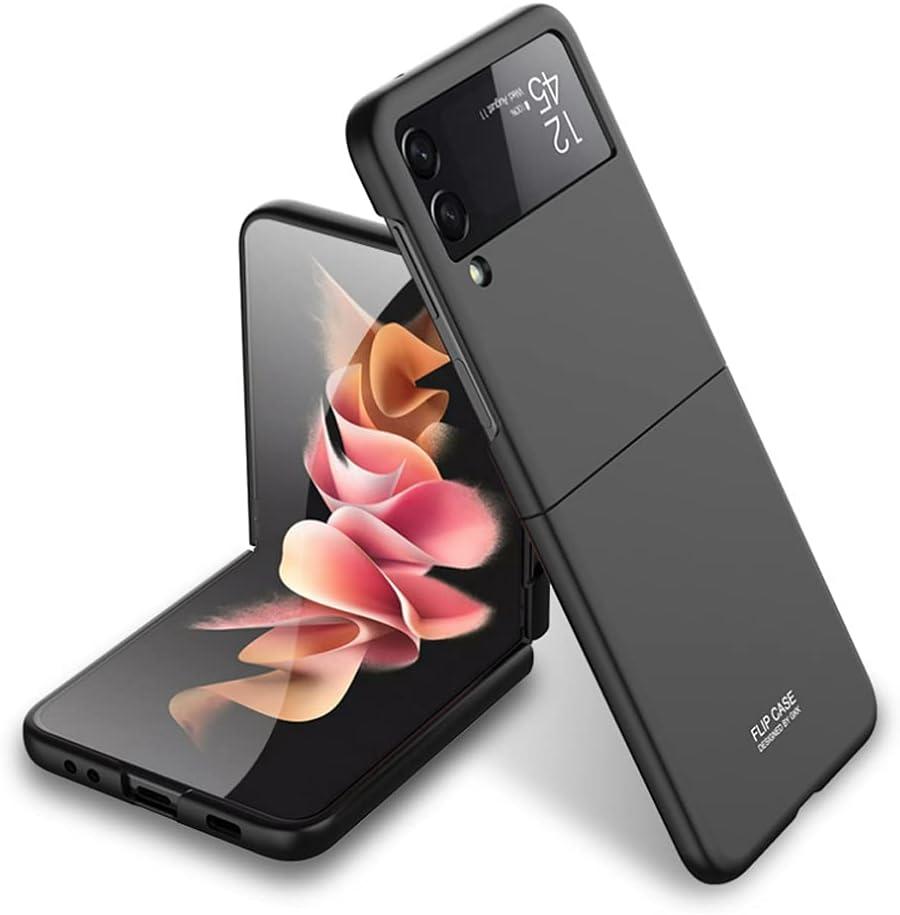Ranyi for Samsung Galaxy Z Flip 3 5G case, Ultra Thin Matte Flip Design 360 Full Body Protection Shock Absorbing Slim Fit Flexible Hard Bumper Case for Samsung Galaxy Z Flip3 5G 2021 -Black