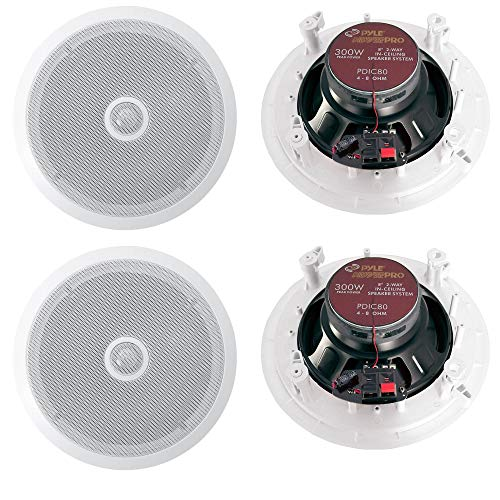 Pyle PDIC80 8 Inch 2 Way In Ceiling/Wall Home Speaker System, White (2 Pair)