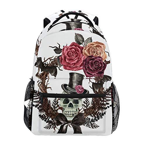 Ahomy, zaino per la scuola per ragazzi e ragazze, acquerello gotico teschio corona pipistrello, zaino da viaggio, borsa da trekking per donne e uomini