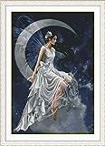 Chreey - Kit de Punto de Cruz   Hada Lunar (Blanco)   96 x 134cm