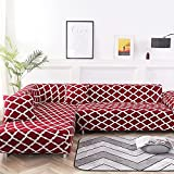 Living Room Solid Color Printing Corner Sofa Cover Elastic Sofa Cover U-Shaped Sofa Cover L-Shaped Stretch 1 2 3 4-Seater A33 1 Seater