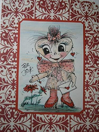 Grußkarte handgemalt mit Herz Mädchen Karte