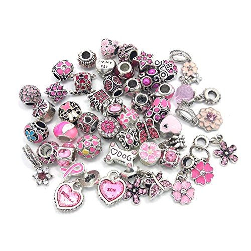 40pcs Large Hole Rhinestone Beads Jewelry Making Charms Assorted Styles Randomly (Pink)