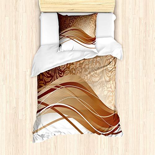 ABAKUHAUS Schokolade Bettbezug Set für Einzelbetten, Klassisches Laub, Milbensicher Allergiker geeignet mit Kissenbezug, Hellbraun Beige