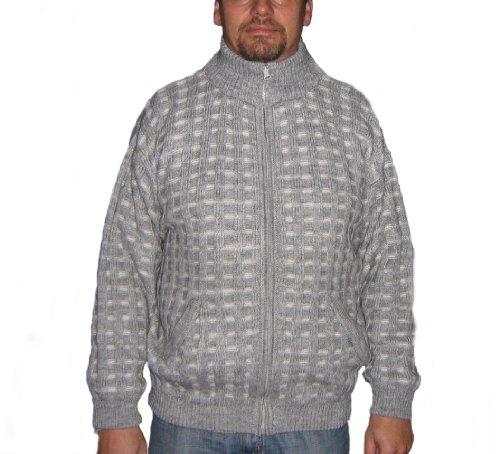 Alpacaandmore Hellgraue Herren Rollkragen Strickjacke Peruanische Alpakawolle (XL)