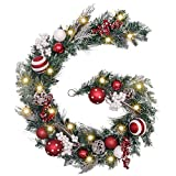 Valery Madelyn Pre-Lit 6 Feet Traditional Red White Christmas Garland with Ball Ornaments, Berries and Pine Cones, Battery Operated 20 LED Lights
