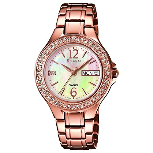 Casio Damen-Armbanduhr Sheen Analog Quarz Edelstahl SHE-4800PG-9AUER
