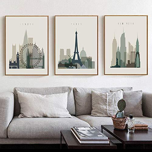 HMOTR Affiche rétro Paris Londres New York Art Mural estampes Aquarelle Peinture sur Toile Vintage Photo Moderne Maison Chambre Decor-50x70cmx3pcs No Frame