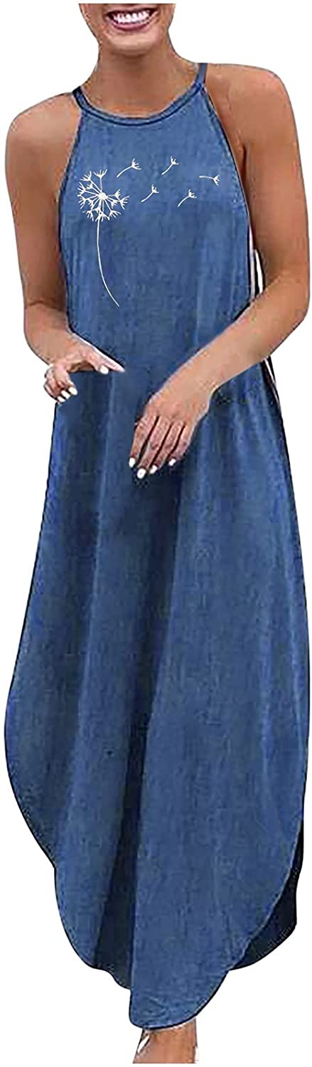 Summer Dresses for Women Plus Size Halter Denim Print Sleeveless Solid Color Dress Ladies Casual Beach Party Dress