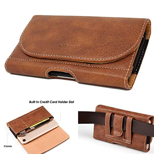 AISCELL Belt Clip Pouch Brown Wallet Leather Case Belt Loop Holster 6.6x3.5x0.6 Inches,Compatible iPhone 11, 11 Pro Max, Xs Max,XR,8 Plus,7 Plus,6 6S Plus,with Hybrid Protective Cover Case 09 Bn