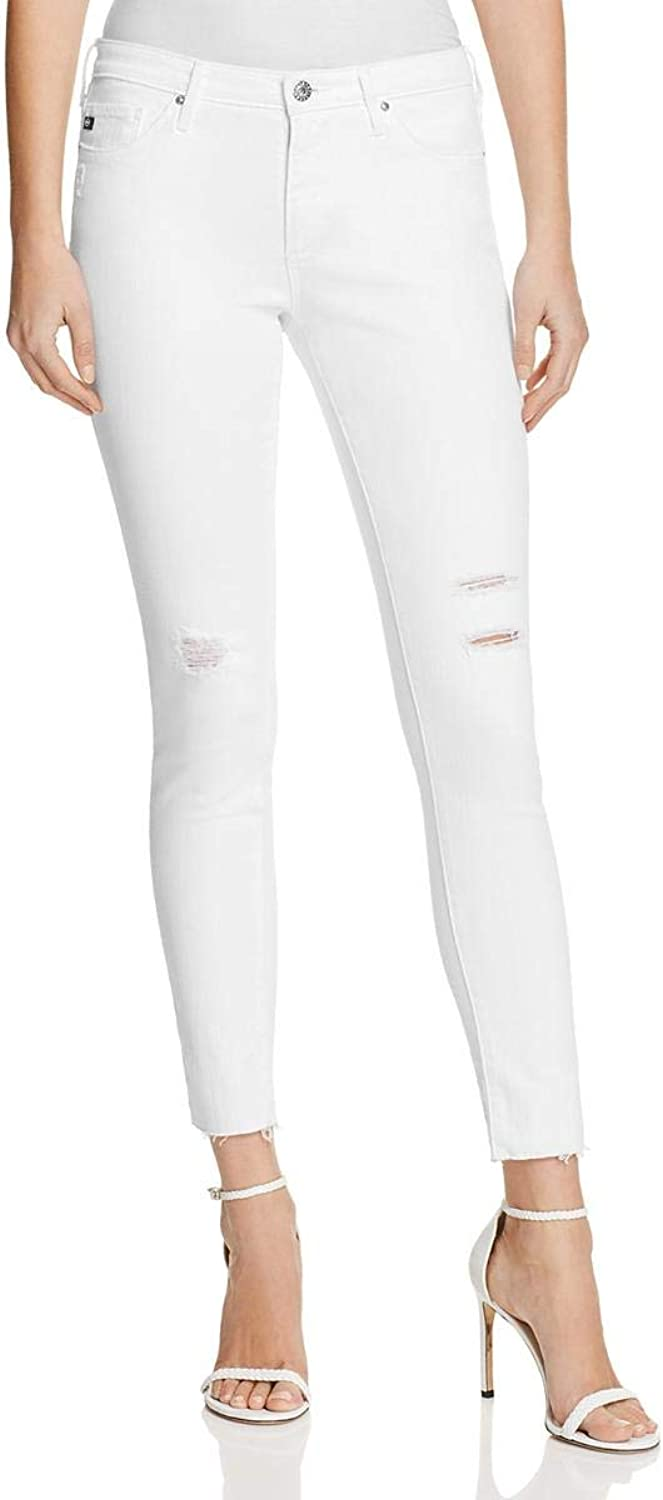 AG Adriano goldschmied Womens Distressed Slim Fit Ankle Jeans