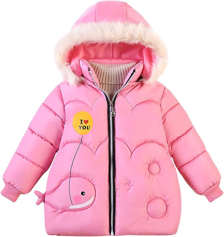 LSPAR Girls Down Jacket Winter Warm Cute Overcoat Clothes,Fur Hooded Windbreak Coat Snowsuit Outerwear