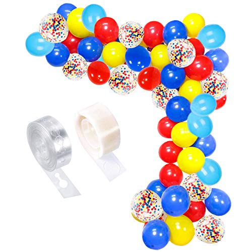 Circus Party Balloons Arch Kit, 80pcs Red Yellow Blue Confetti Latex Balloons Garland Set for Carnival Circus Party Decorations,Baby Shower, Paw Birthday Party