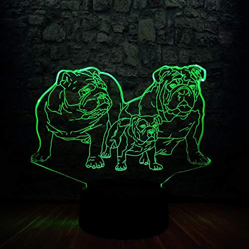 3D French Bulldog Night Light Touch Switch Decor Table Desk Optical Illusion Lamps 7 Color Changing Lights LED Table Lamp Xmas Home Love Birthday Children Kids Decor Toy Gift