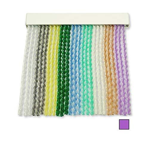 Cortinas Exterior Puerta de Cordon | Tiras Plastico PVC y Barra Aluminio | Ideal para Terraza y Porche | Antimoscas | Morado | 210 * 90
