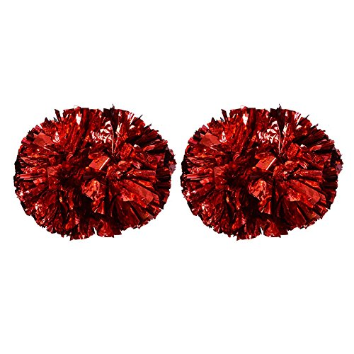 VGEBY1 Cheerleader Pom Poms, 1 Paar 8 Farben Cheer Poms Pack Cheerleading Metallic-Folie für Tanzparty, Sportwettbewerb(rot)