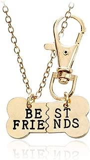 2pcs Friendship Jewelry Dog Bone Best Friends Charm Necklace Keychain BFF Bones Design