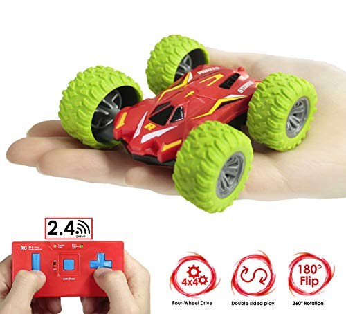 Haktoys High Speed Mini RC Remote Control Acrobatic Stunt Car, 2.4GHz Controller for Multi Users (Simultaneous Play Technology), Extreme Rotating & Tumbling Double-Sided AWD Off-Road Vehicle, HAK100