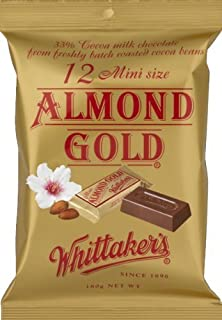 Whittaker's 12 mini size chocolate slab 180g (Made in New Zealand) (Almond Gold) by Whittakers