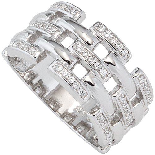 JOBO Damen-Ring breit aus 925 Silber mit Zirkonia Größe 64