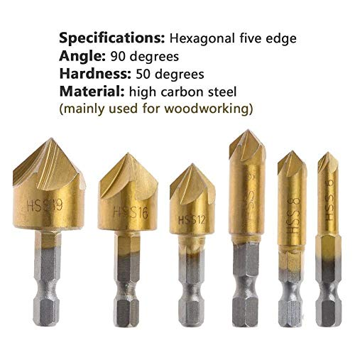 Rocaris 23-Pack Woodworking Chamfer Drilling Tool, 6pcs 1/4
