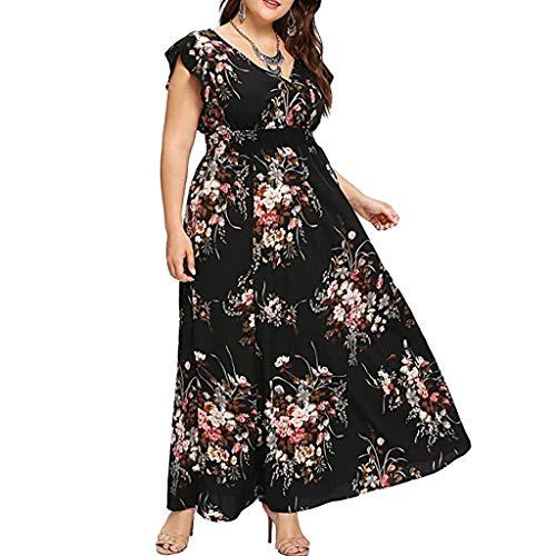 Fcostume Women's Large Sizes Summer Dresses Short Sleeve V-Neck Long Dresses Summer Elegant Beach Dress Floral Mini Dress, Z-4-a, 18