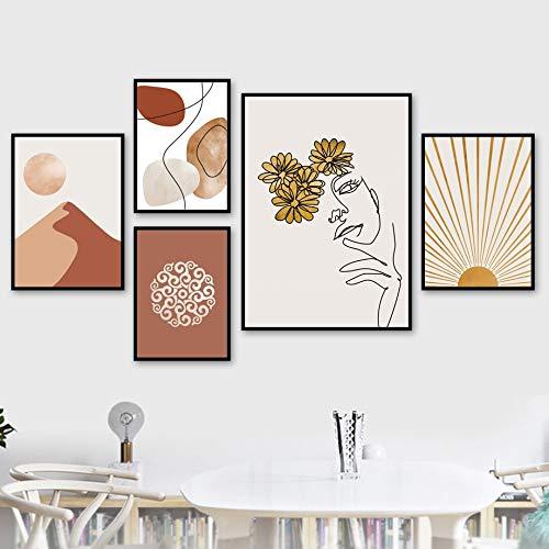 WIOIW Nórdico Minimalista Dibujo Lineal Abstracto Maquillaje Cara de niña Flor ilustración Lienzo Pintura Pared Arte Cartel Dormitorio Sala de Estar salón de Belleza Estudio decoración del hogar
