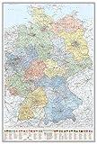 J.Bauer Karten Pinnwand im Alu-Rahmen: Deutschland-Karte politisch Bundesländer, 80 x 120 cm, mit Wappen und Relief-Schummerung