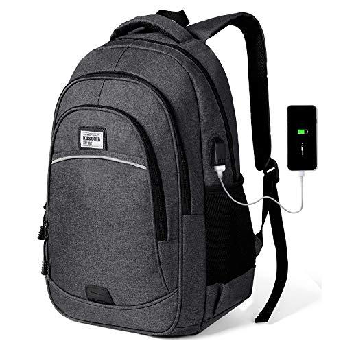 KUSOOFA Herren Rucksack, Business Laptop Rucksack, Studenten Wasserdicht Notebook Backpack, Schulrucksack mit USB-Ladeanschluss, Vielen Taschen und Fächern (BR4-Dunkelgrau)