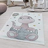 Ayyildiz - Alfombra para niños, diseño de dinosaurio de bebé, 200 x 290 cm, color rosa