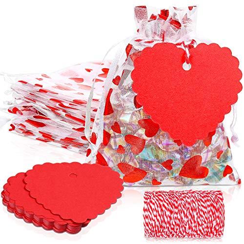 100 Bolsas de Organza de San Valentín y 100 Etiquetas de Papel Kraft, Bolsas de Regalo de Corazones Rojas Bolsas con Cordón, Etiquetas de Nombre con Cordel para San Valentín Boda