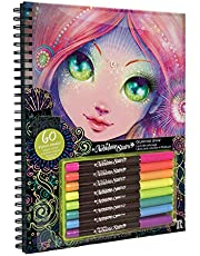 Nebulous Stars NS1111 Kleurboek met 60 zwarte pagina's om in te kleuren en 8 neon-gelstiften, prachtige motieven, ideaal voor meisjes vanaf 7 jaar, kleurrijk