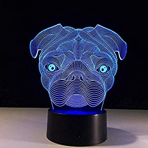 3D Illusion Lamp Led Night Light Cute Pug Dog Baby Sleeping Animal Lights USB Remote Control Touch Switch Table Lamp for Home Decor