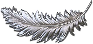 TAQUA Metal Wall Art Deco Sculpture, Wall Hanging Feather Embossed Pendant, Indoor and Outdoor Wall Decoration, Free Hanging 2 Size (Color : Silver, Size : 50x20x3cm)