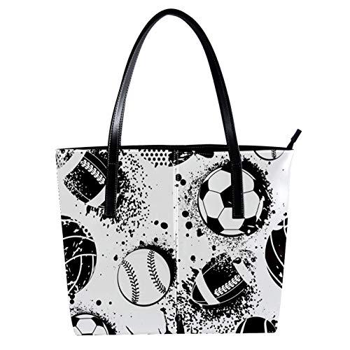 LORVIES Black White Basketball Soccer Baseball - Bolso bandolera de piel sintética y bolsos de mano para mujer