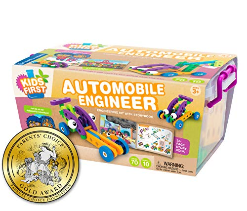 Kids First Automobile Engineer Kit | STEM | 32 Page Full-Color Illustrated Storybook | Ages 3+ | Preschoolers and kindergartners | Develop Fine Motor Skills | Parents Choice Gold Award
