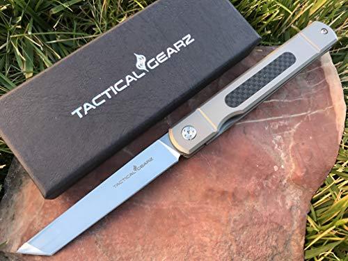 TACTICAL GEARZ TG Tatsu, Tc4 Titanium/Carbon Fiber Handle! Front Flipper, Japanese Style EDC Folding Knife w/Sheath! Polished D2 Steel Tanto Blade! Ball Bearing Pivot System! (Tatsu)