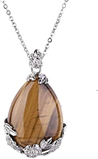 OCARLY Natural Gemstone Teardrop Pendant Carved Flower Necklace Healing Crystal Chakra Jewelry for Women