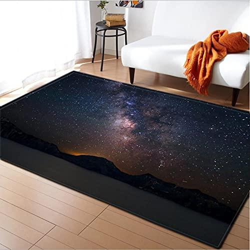XuJinzisa Starry Sky Space Stars Alfombra Antideslizante De Franela Súper Suave Impresión 3D Sala De Estar Dormitorio Alfombra Decoración del Hogar Estera W6829 180X180Cm